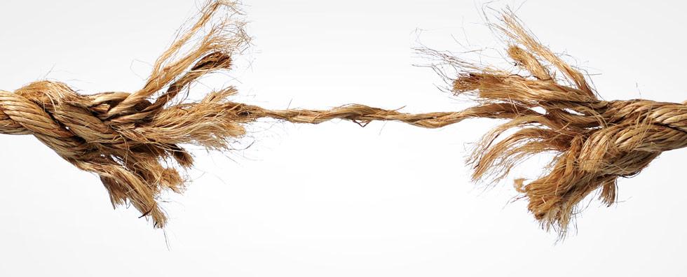 Stressmanagement Seil haengt nur an einem Faden und reist bald durch