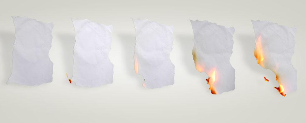 Ursache und Verlauf von Burnout Papier verbrennt Schritt für Schritt